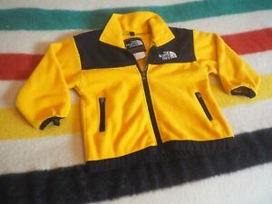 VTG 90s NORTH FACE Summit Series Yellow Black Fleece Zip Jacket YOUTH XS EUC