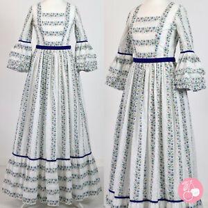 WHITE COTTON FLORAL, BRODERIE ANGLAISE 1970s VINTAGE BOHO PRAIRIE MAXI DRESS 6-8