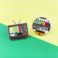 Colour Rainbow Screen Enamel Pin Brooch Classic Vintage Tv No Signal Brooches