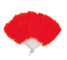 BLACK RED & WHITE FEATHER HAND FAN LADIES BURLESQUE FANCY DRESS COSTUME