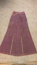 "Purple/Burgundy Long Length Fishtail Skirt Steampunk/Cyber/Goth/Punk W-26"" L-43"""