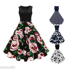 Retro Vintage Floral Dot 50s ROCKABILLY Pinup Housewife Swing Evening Mini Dress