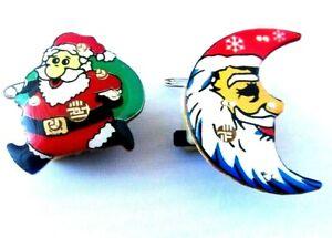 2 LED Flash Lights Glowing Brooch Pin Christmas Santa Christmas tree Badges