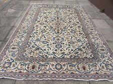 Vintage Worn Hand Made Traditional Oriental Wool White Large Carpet 336x242cm