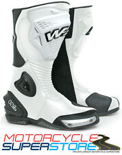 NEW W2 ADRIA-SR FULL RACE SPORT MOTORCYCLE MOTORBIKE TOURING ROAD BOOTS - WHITE