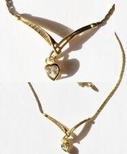 collier bijou rétro cœur pampille cristal diamant couleur or rhodie * 5222