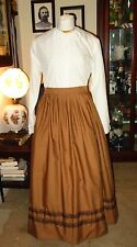 CIVIL WAR DRESS~VICTORIAN STYLE-COTTON WARM BROWN WORK/CAMP SKIRT~BROWN LACE