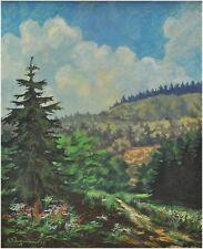 Sommerliche Waldlandschaft - alte Gouache - undeutlich signiert, dat. 45