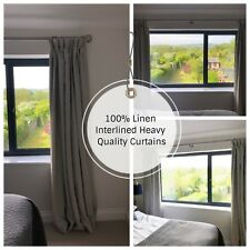 New! PAIR OF 100% Linen Interlined Lined BESPOKE 3.05m LONG 2.80m Wide CURTAINS