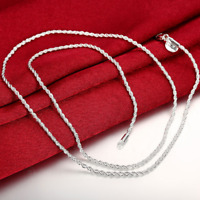 Men's Women's 14K Sterling Silver 925 Plated Thin Short Rope Chain Necklace 24""
