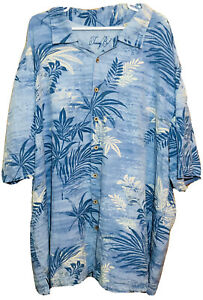 Tommy Bahama Blue Floral Hawaiian Shirt Men's 4xt Coconut Buttons