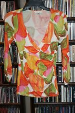 CAbi style 579 Tulip Pattern Ruched Faux wrap Knit Top Shirt Ladies  S  (bin67)