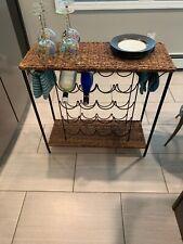 Vintage Iron Wicker Wine Rack Table Stool Spa Towel Holder Bath Vanity Storage