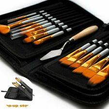 15Pcs Professional Artist Soft Paint Brush Set Oil Acrylic Watercolour Art+Case