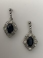 14K White Gold Oval Shape Natural Sapphire and 0.10ct Diamond Earrings September