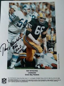 RAY NITSCHKE PACKERS AUTOGRAPHED 8X10 PHOTO