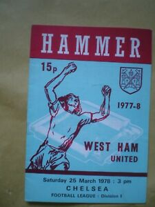 WEST HAM V CHELSEA PROGRAMME, 25TH MARCH 1978