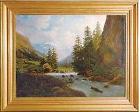 C. Lucas 2. Hälfte 19.Jahrhundert: Wildbach Hochgebirge Gemälde Romantik 47 x 64
