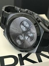 DKNY NY2380 Unisex Parsons Black Stainless Steel Chronograph Watch w/ Date NWT