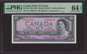 Canada 🇨🇦 1954 - $10 Mod.Portrait Beatie|Rasminsky Sig. - PMG Ch. UNC 64 EPQ