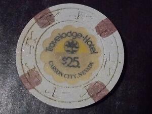 TRAVELODGE HOTEL CASINO $25 hotel casino gaming poker chip ~ Carson City, NV