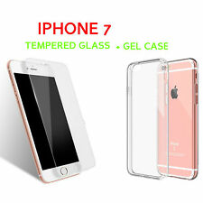 Fit For iPhone 7 Silicon Clear Gel Cover Case +Tempered Glass Screen Protector