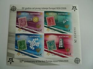 MONTENEGRO SOUVENIR SHEETS # 129 E PERF AND IMPERF EUROPA STAMP ON STAMP CAT$ 91
