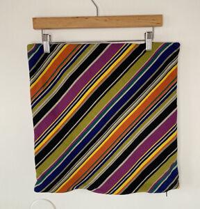Crate & Barrel Rimini Diagonal Stripe Pillow Covers 18X18 Zip Close Black Purple