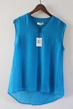 NWT CALVIN KLEIN Womens Size 8 XS Turquoise Blue V Neck Chiffon Sleeveless Top