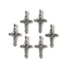 Buddly Crafts Encantos de Metal Tono Plateado - 6 un. cruces recargado 20 Mm x 39 mm