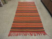 3'X7' Vintage Hand Made South American Wool Blanket Kilim Rug Flat Weave Stripes