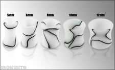 1 x 2g - 6.0mm White Marbled Pattern Hollow Ear Plug Body Piercing Jewelery