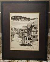 1983 San Francisco Trolley Car Lithograph by James Millard Signed Matted