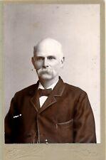 1880-1889 Cc Keene, Nh Bald Man, Walrus Mustache, Rr Conductor? Cabinet Photo
