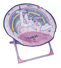 Foldable Unicorn Moon Chair Collapsible Soft Seat Childrens Magic Girls Pink
