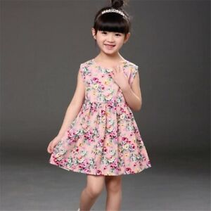 4-6 Years Baby Kids Girls Sleeveless Flower Print Dresses Clothes Princess Dress