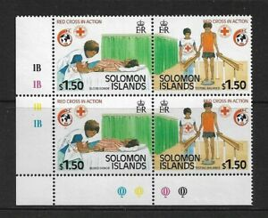 1989 SOLOMON ISLANDS - RED CROSS  - CORNER BLOCK WITH TRAFFIC LIGHTS - MNH.