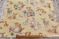 "Vintage c1940 Childrens Conversational Cotton Printed Fabric~L-32"" X W-33"""