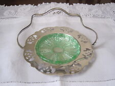RENOWN SILVERPLATE HANDLED BUTTER DISH WITH GREEN DEPRESSION GLASS INSERT