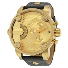 NEW MENS DIESEL (DZ7363) LITTLE DADDY BLACK LEATHER GOLD DIAL CHRONOGRAPH WATCH