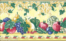 Yellow Gold Victorian Fruit Grape Pear Apple Tuscan Kitchen Wall paper Border