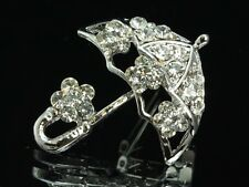2pc Sparkly Clear Crystal Rhinestone umbrella floral silver plate Brooch PIN D22
