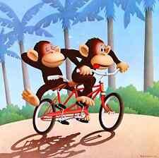 "MICHAEL BEDARD PARTNERSHIP ART PRINT Monkeys - 1984  ""sitting ducks"" creator"