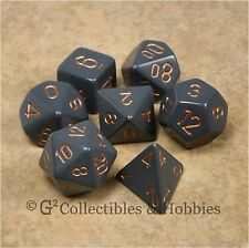 NEW 7pc Set Opaque Dark Grey w/ Copper RPG Game Dice in Box D&D Chessex