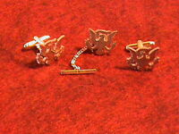 Hand Cut Us Kennedy 50 Cent Coin, eagle, 24 Kt Gold Plated Cuff links and tie ta