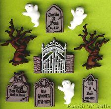 Cementerio Fantasmas-árbol Gravestone Puerta Embrujada Cementerio Halloween Craft Botones