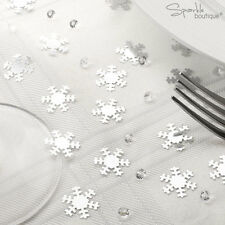 Shimmering Snowflake Table Confetti with Crystals - Winter Wedding or Christmas