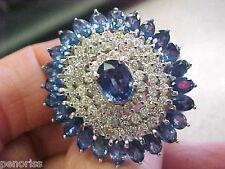 Wg Ring size 7 Make Offer Spectacular Estate Blue Sapphire & Diamond 14k