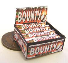 Escala 1:12 caja de presentación de barras de chocolate oscuro de Casa de Muñecas Sweet Shop Bounty