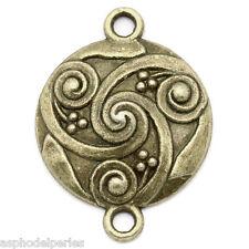 3 connecteurs ronds spirales gravées en métal couleur bronze 28 x 21 mm